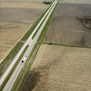Aerial view of a trucker using ExpressIFTA for his 4th quarter IFTA deadline reporting