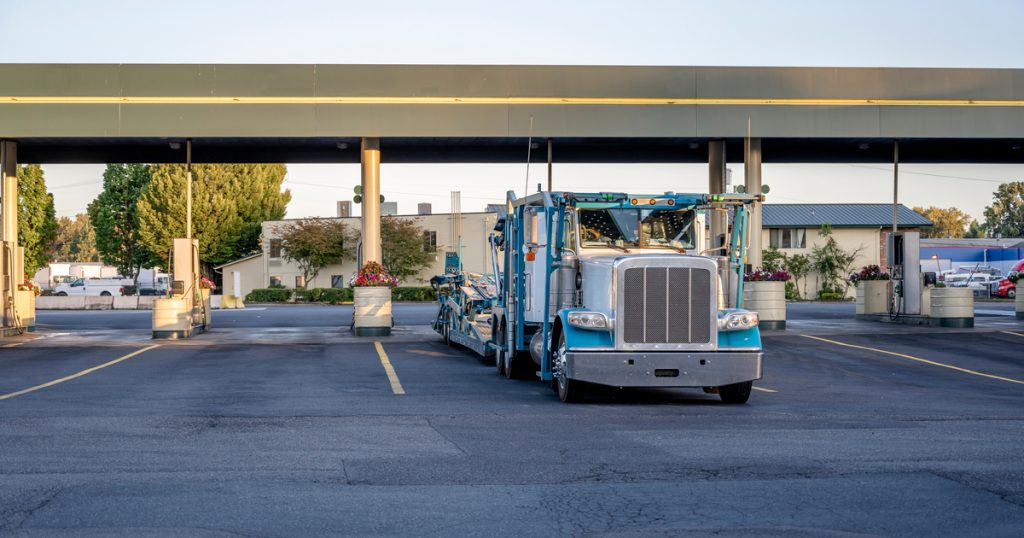 Trucker at truck stop completing his IFTA reporting