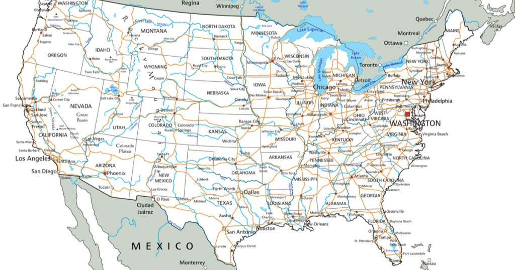 Map of the united states with IFTA jurisdictions due to COVID-19